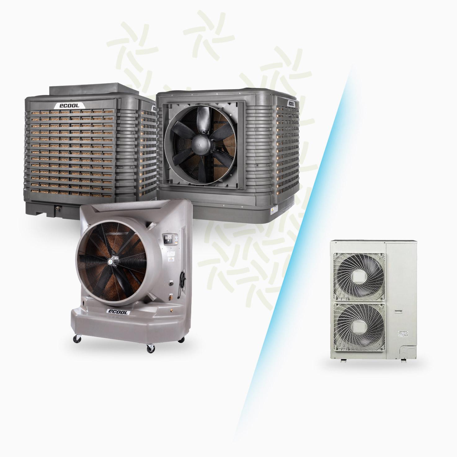 raffrescatore evaporativo e climatizzatore